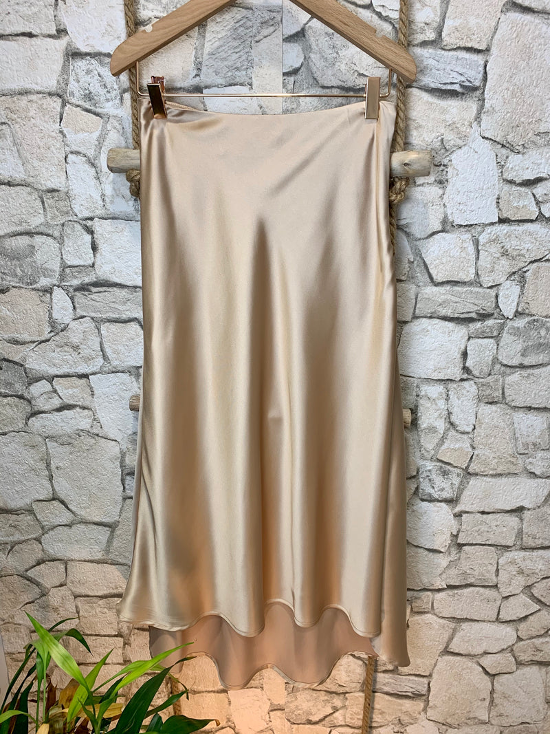 Satiny Midi Skirt in Taupe