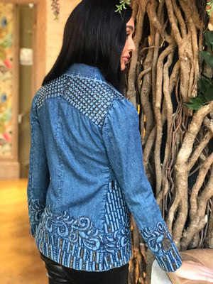 Luxury Quilted Denim Jacket with embellishment