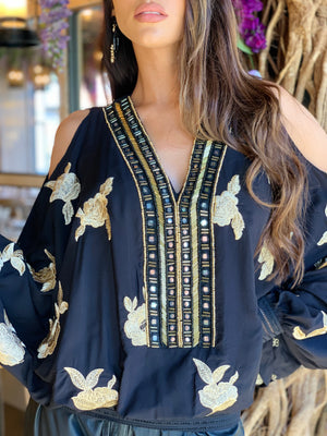 Cold shoulder Embroidered Top Americano in Black/Gold