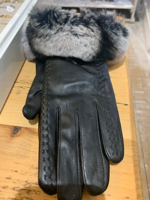 Leather & Chincilla Gloves