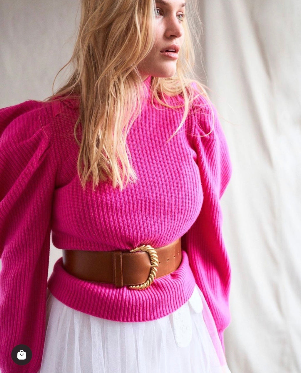 Cashmere Jumper Potter in Electric Pink