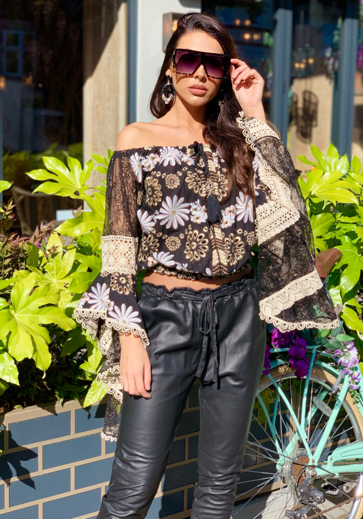 Embroidered off Shoulder Top Lolita in black