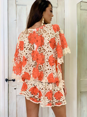 Lace Embellished Kaftan Tunic Miss Coco
