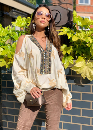 Laurie and joe Cold shoulder Embroidered Top Americano in Cream/Gold