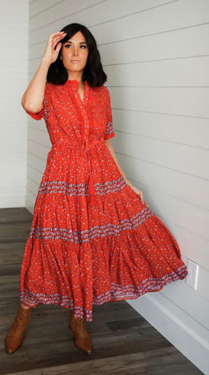 Prairie Maxi Dress in Red Print
