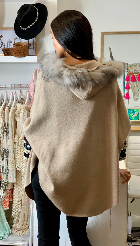 Mocha hooded cape with removable fur collar