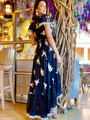 Embroidery Maxi hi low dress Santorini in black/gold