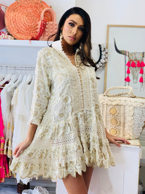 Embroidery tunic dress Flower