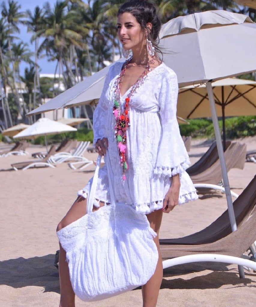 White Embellished Lace Dress Venice
