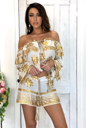 Silk chiffon off Shoulder Top Boule in White/Gold