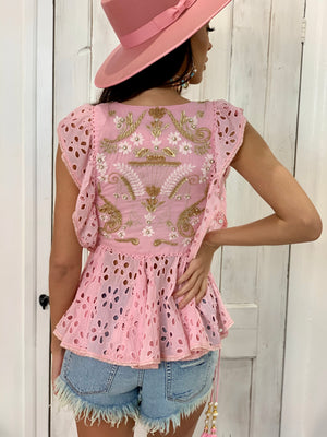 Ibiza Embellished Top in Pink