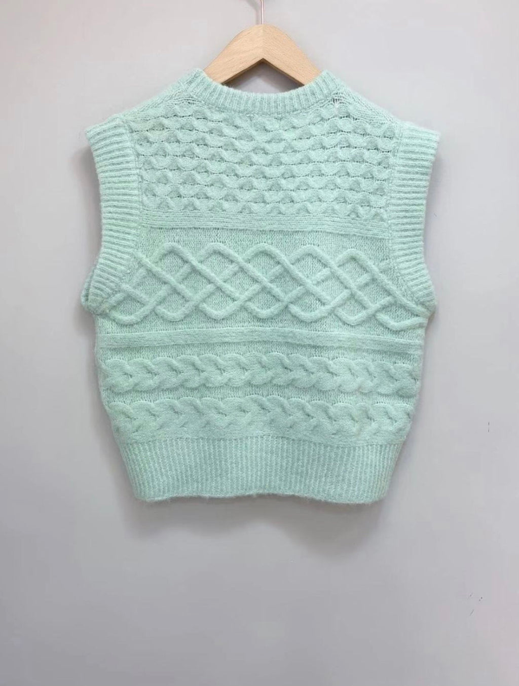Wool Blend Knitted Vest Isabel in Mint Green