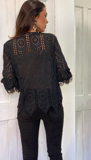 Cannes Beaded Top in Black by Laurie & Joe