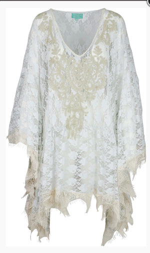 Grey Lace Scalloped Poncho with slit shoulder