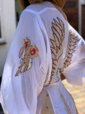 Embellished Dress Angel in White/Nude