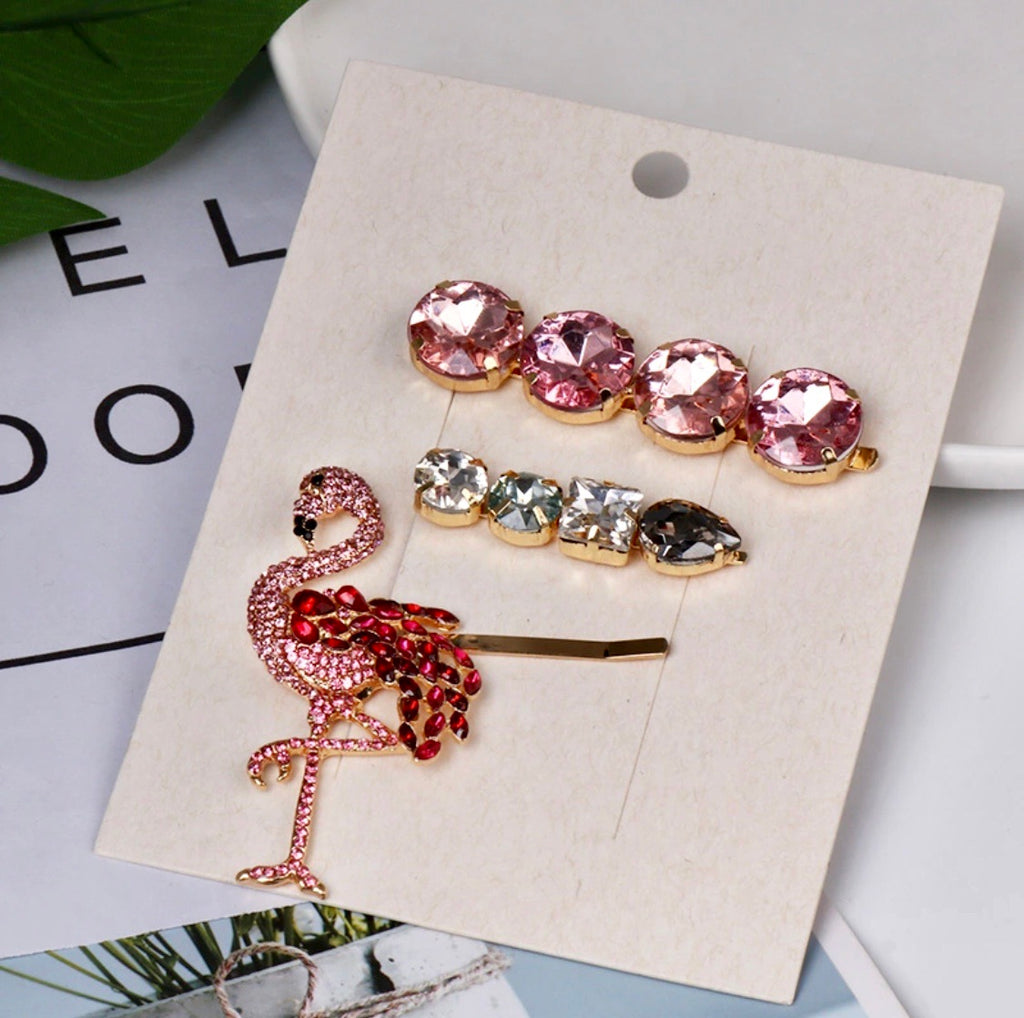 flamingo hair clip (set of 3)