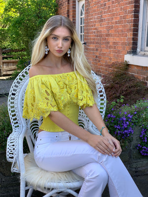 Overlay Embellished Top Lanie with ruching in yellow