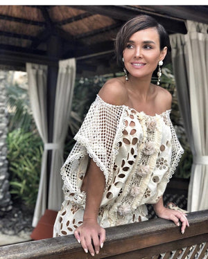 Cream Lace off shoulder Tunic dress Havana