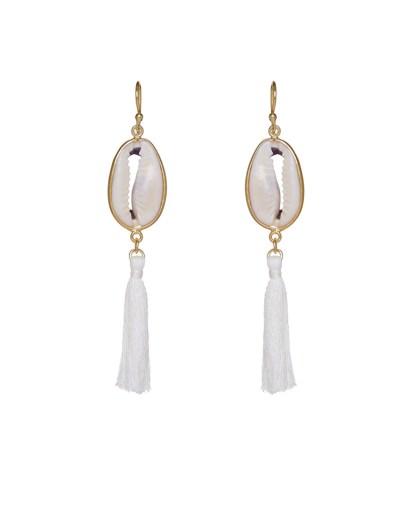Shell Earrings with white tassel
