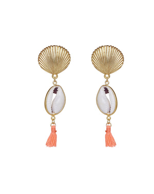 Spice Island Shell Earrings with neon coral tassel