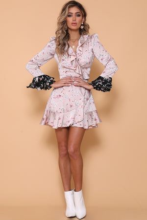 Jenny Wrap Silky Dress in Pink contrast print