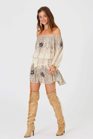 Cream Celestine Sequins Mini Dress