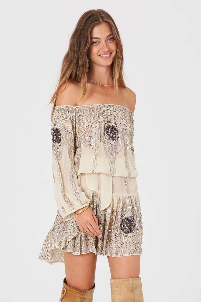 Jen's Pirate Booty Celestine Sequins dress in Cream | Jen's Pirate Booty
