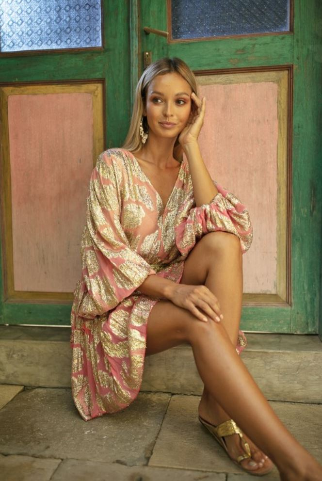 Ombre DRESS JODIE WITH GOLD LUREX PRINT in Pink