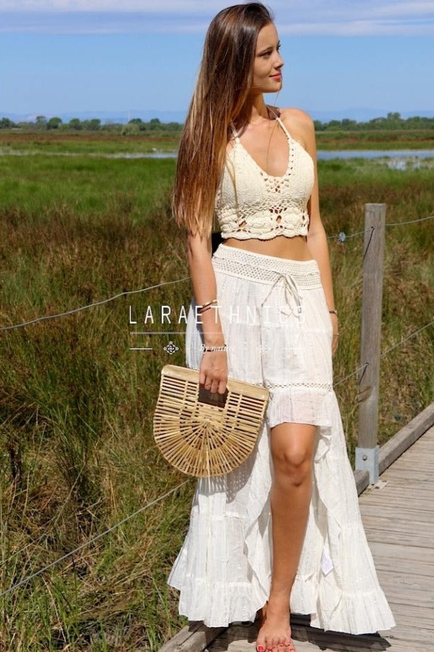 Hi Low Skirt Charlotte in Ivory Lurex