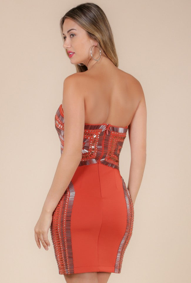 Wow Couture Sweetheart Embellished Bodycon Dress