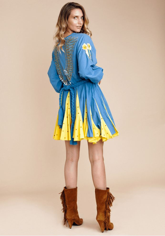 Embellished Dress Angel in Denim/Yellow
