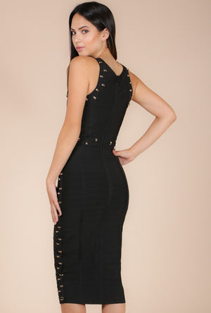 wow couture gold label black midi bandage dress