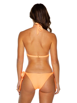 Papaya Triangle Bikini Top in Neon orange with removable gold coin necklace