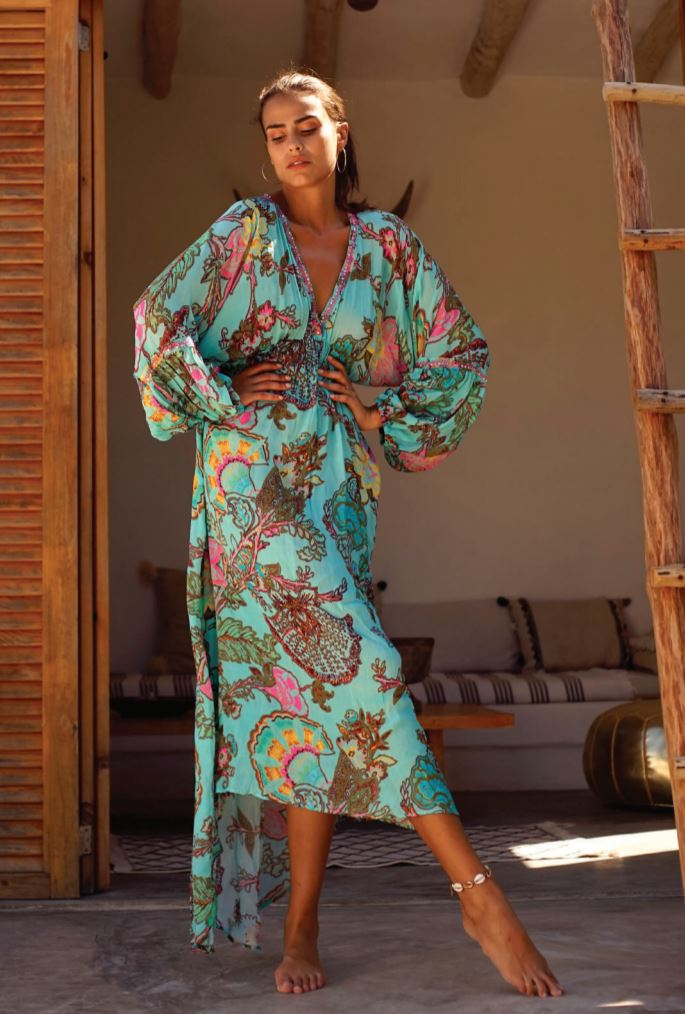 Turquoise print Hi Low Maxi Dress Kasbah