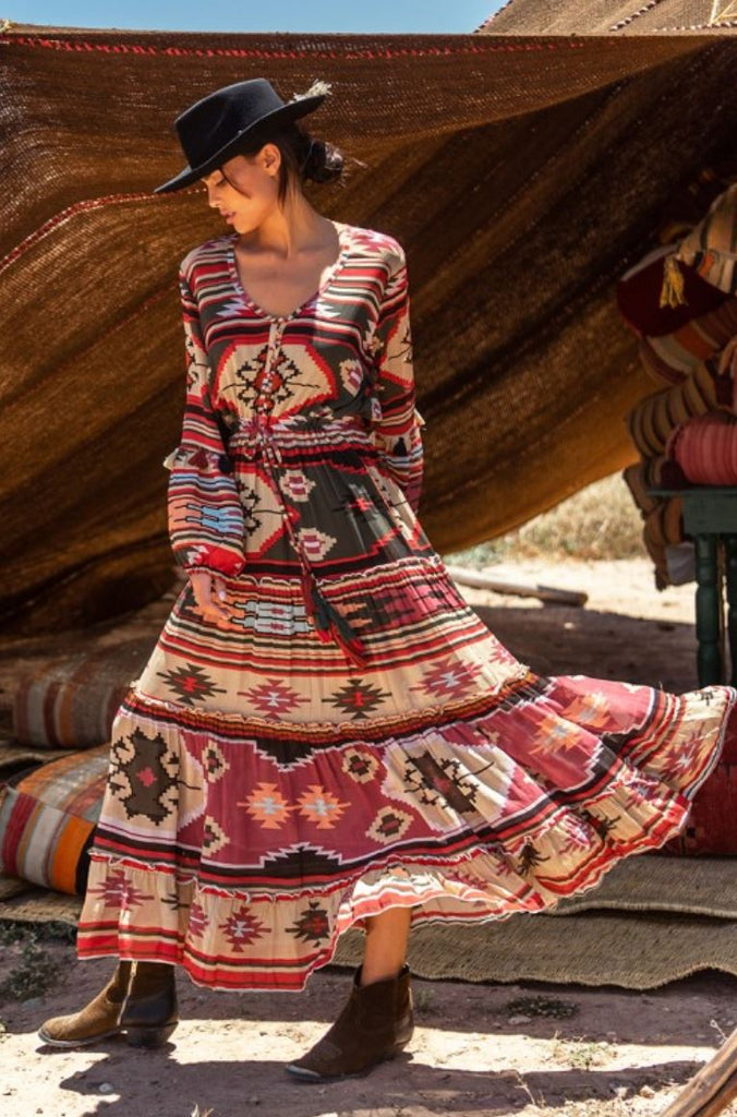 Miss june Designer Maxi Dress Kilim in Aztec print