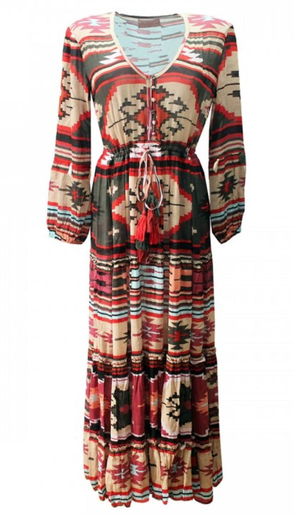 Designer Maxi Dress Kilim in Aztec print