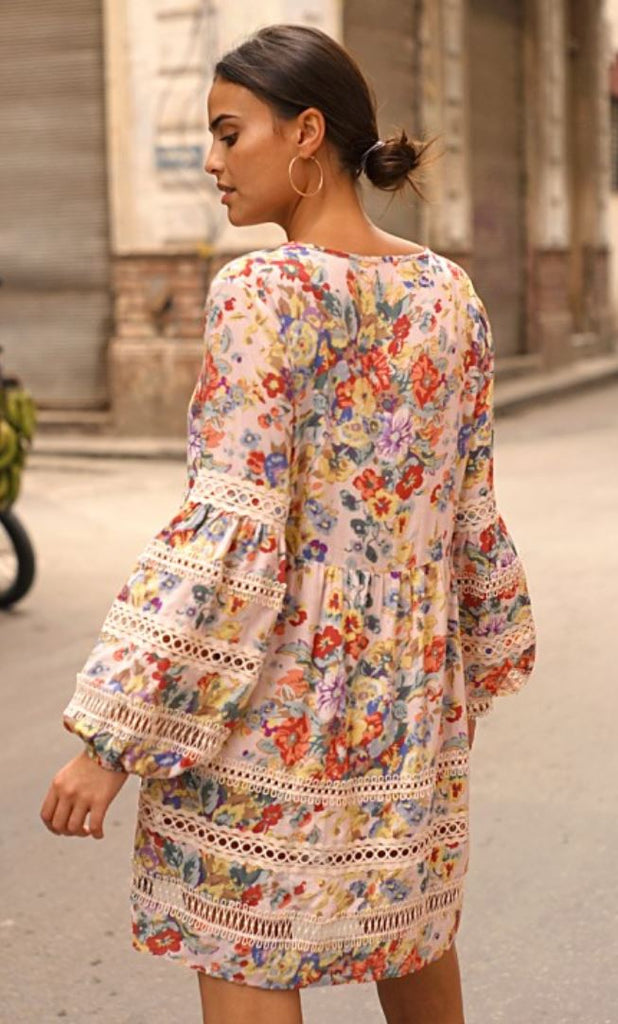 Floral Print Dress Kimmie with Embroidery