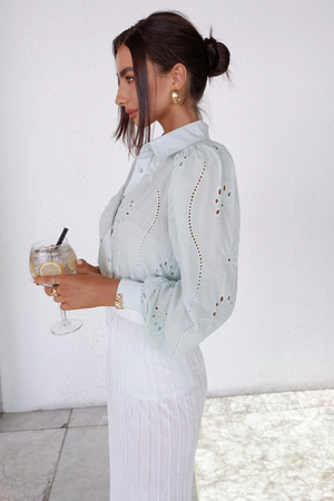 Embroidery Knowles blouse in Pistachio
