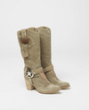Suede Leather Texas Boots Kris in Silverstone Olive