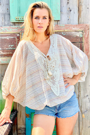 Poncho Sleeves Top Pyla in Ivory Lurex