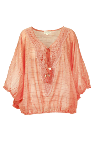 Poncho Sleeves Top Pyla in Orange Lurex