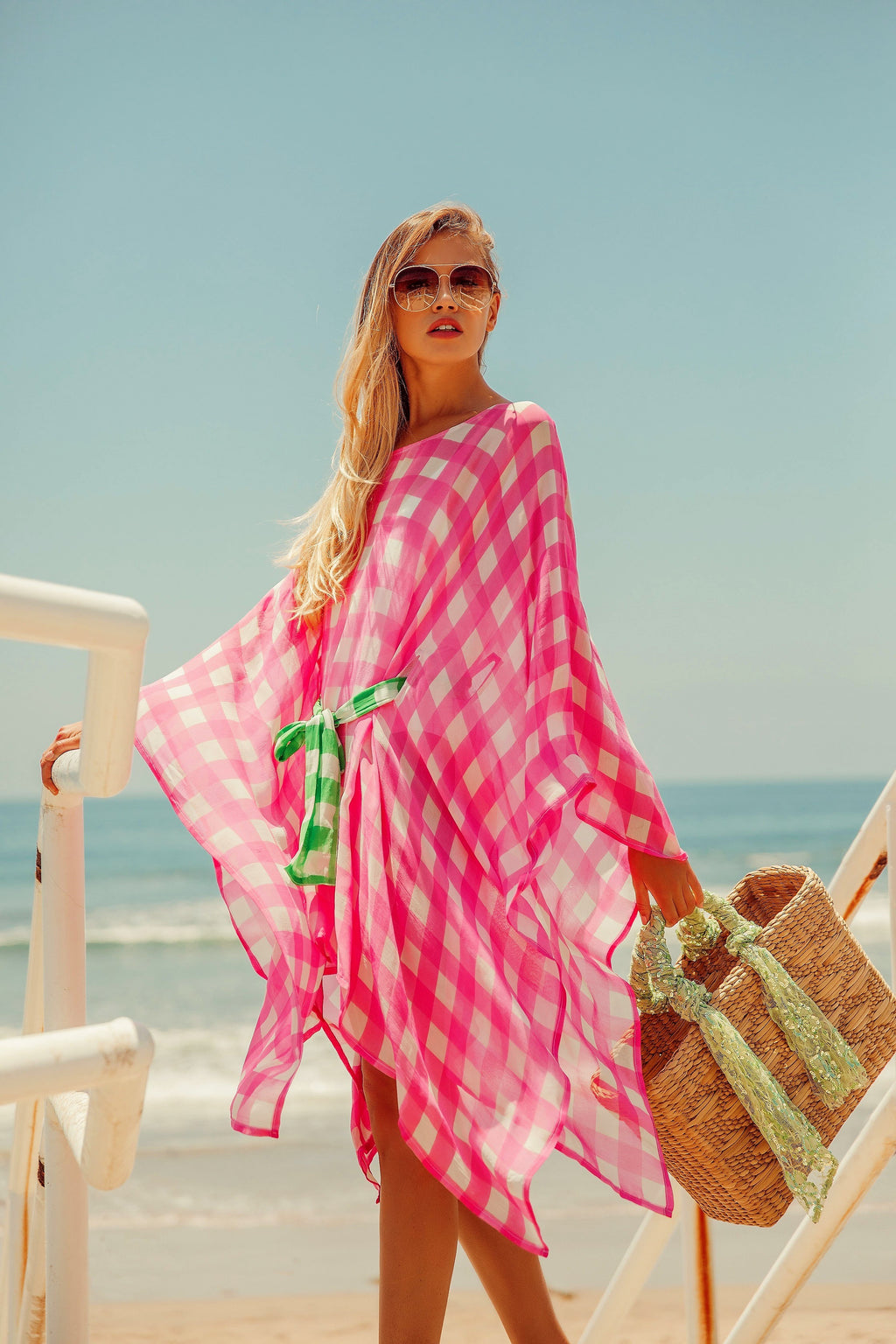 Liv Kaftan Dress in Gingham Pink