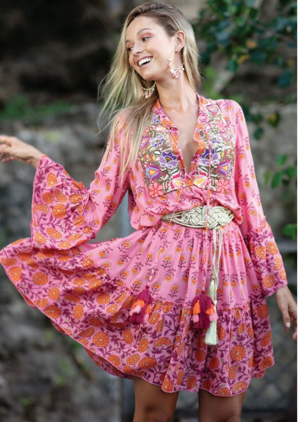 Miss june Boho Midi Dress Lonely in Pink Print