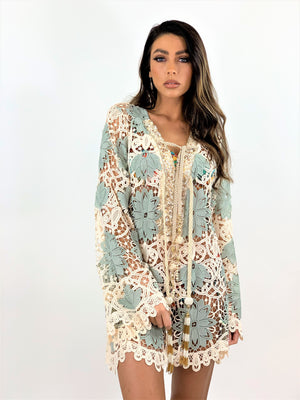 Crochet Kaftan Tunic Palm in Blue