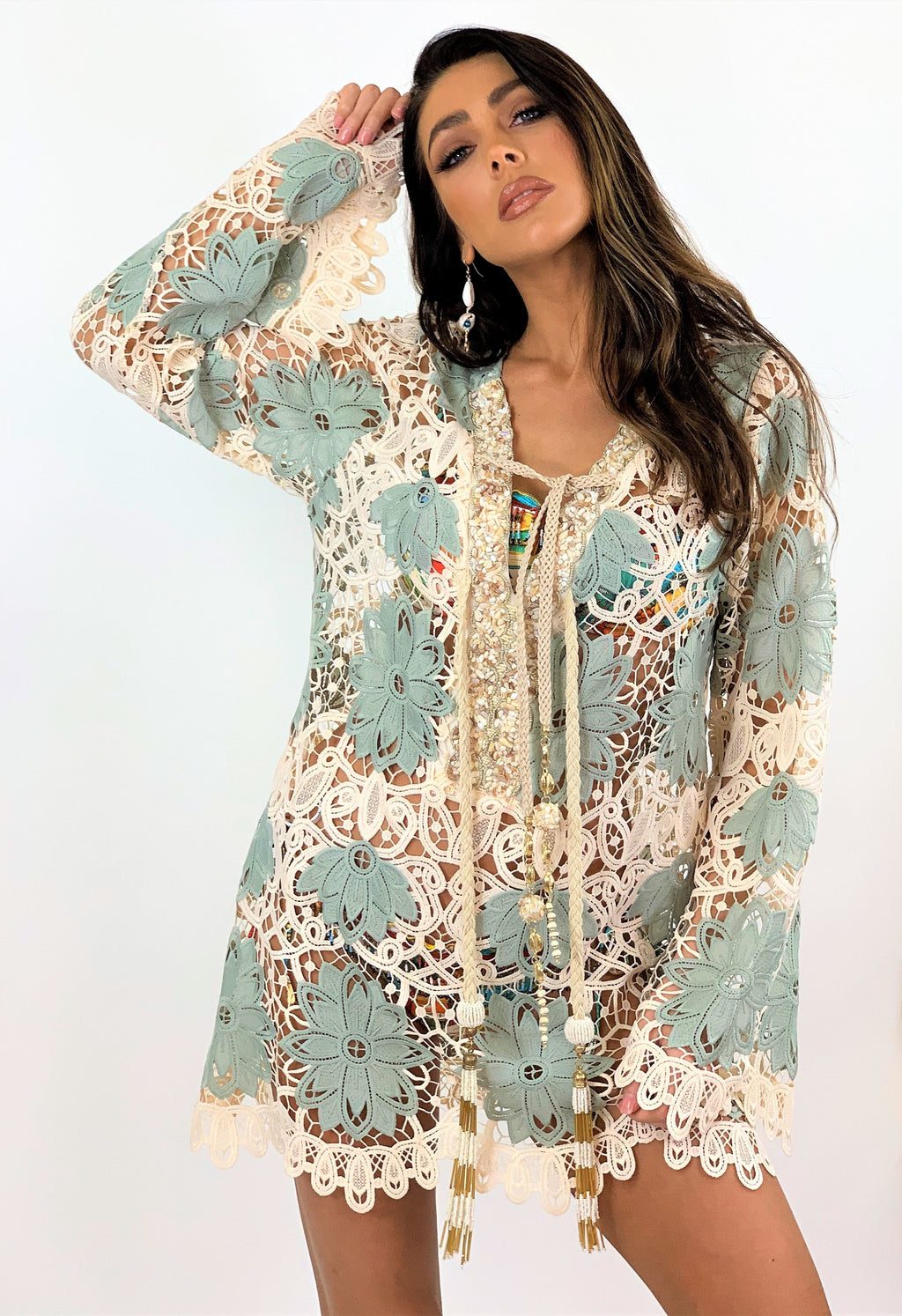 Laurie And Joe Crochet Kaftan Tunic Palm in Blue