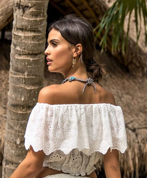 White Embroidery Off The Shoulder Cotton Top | Miss June