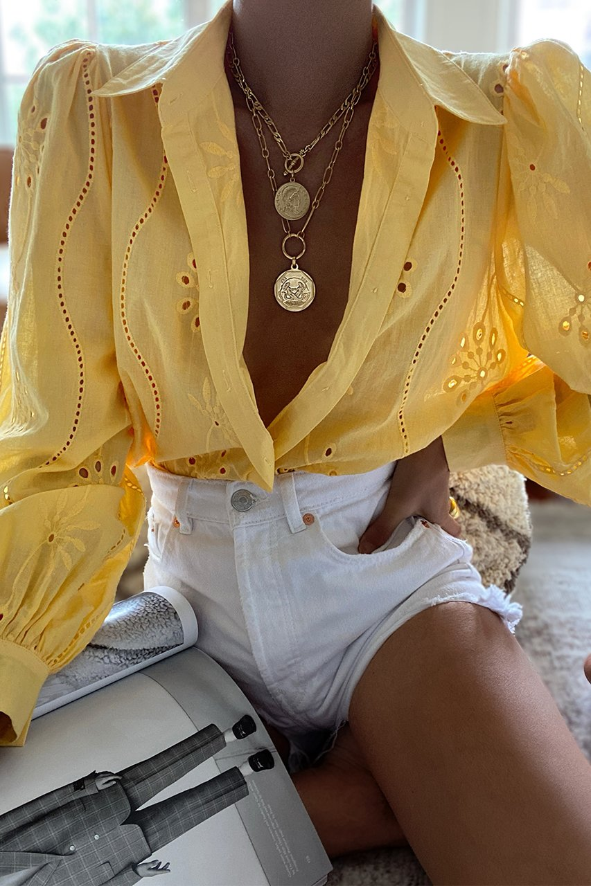 Embroidery Knowles Blouse in Mango
