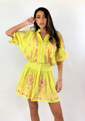 Embellished Mini dress Miroire in yellow