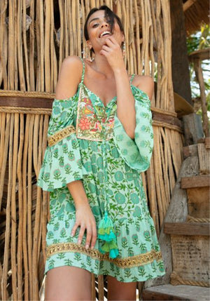 Miss June Mini Dress Andy in green print