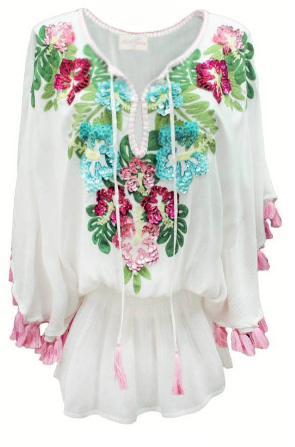 miss june kaftan dress in white